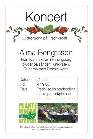 Konsert vid stadsodlingen Alma Bentsson